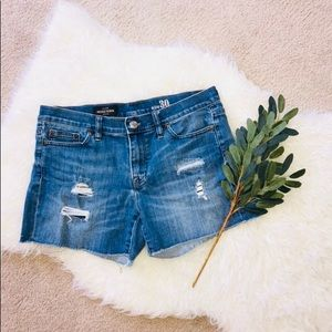 J. Crew Indigo Denim Distressed Shorts